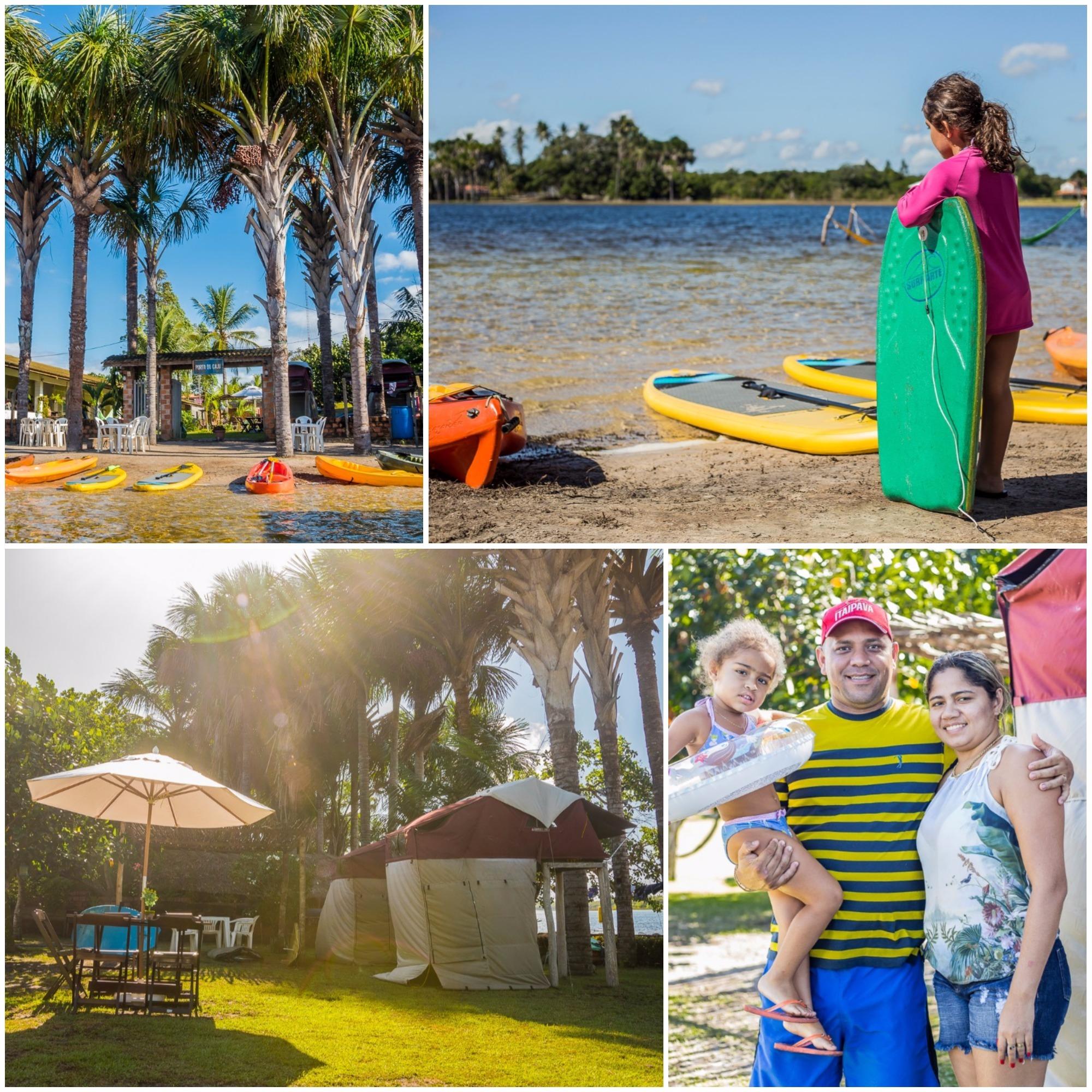 Aos turistas mais aventureiros, a pousada Porto do Caju oferece barracas de camping que ficam a um metro e meio do chão.
