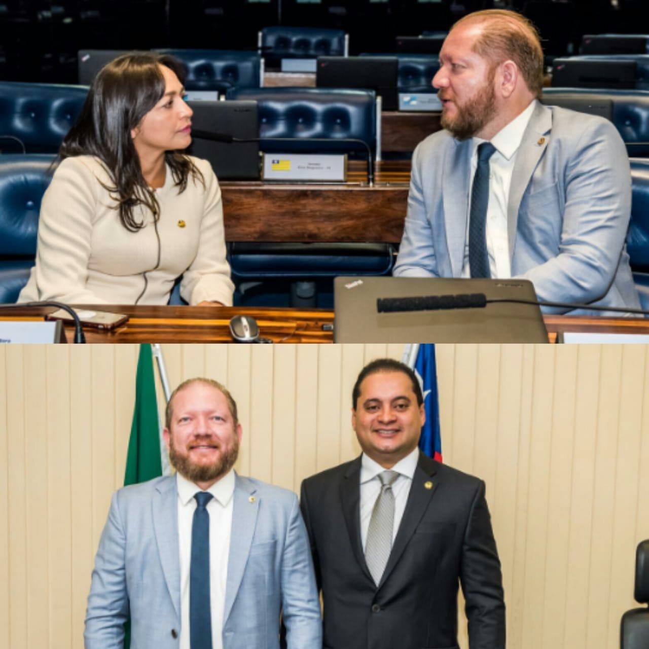 Othelino Neto reúne-se com os senadores Eliziane Gama e Weverton Rocha no Congresso Nacional