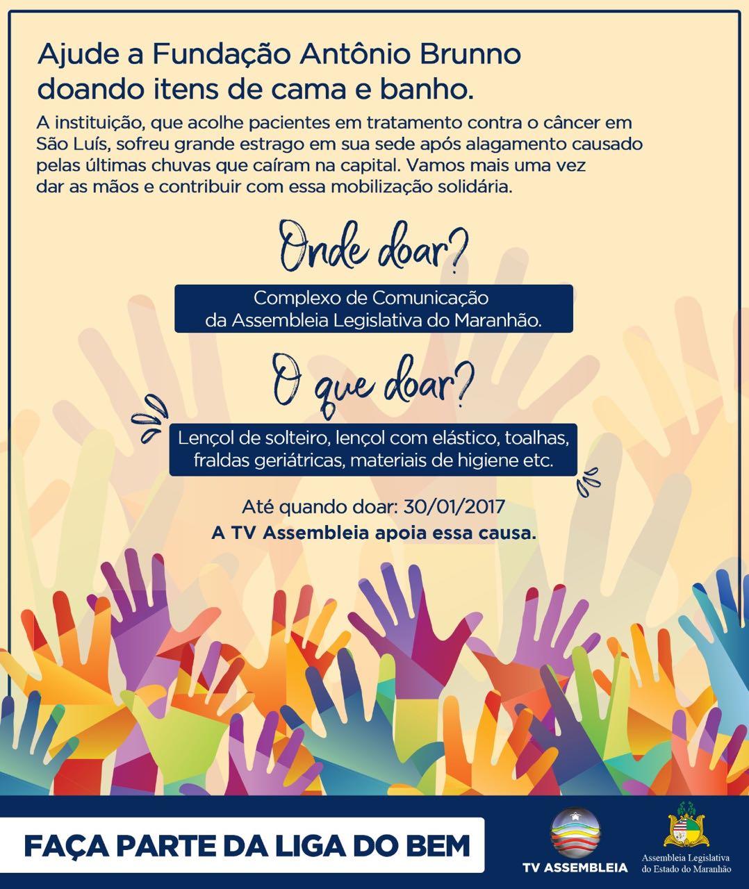 Complexo de Comunicação está recebendo donativos para a Fundação Antônio Brunno