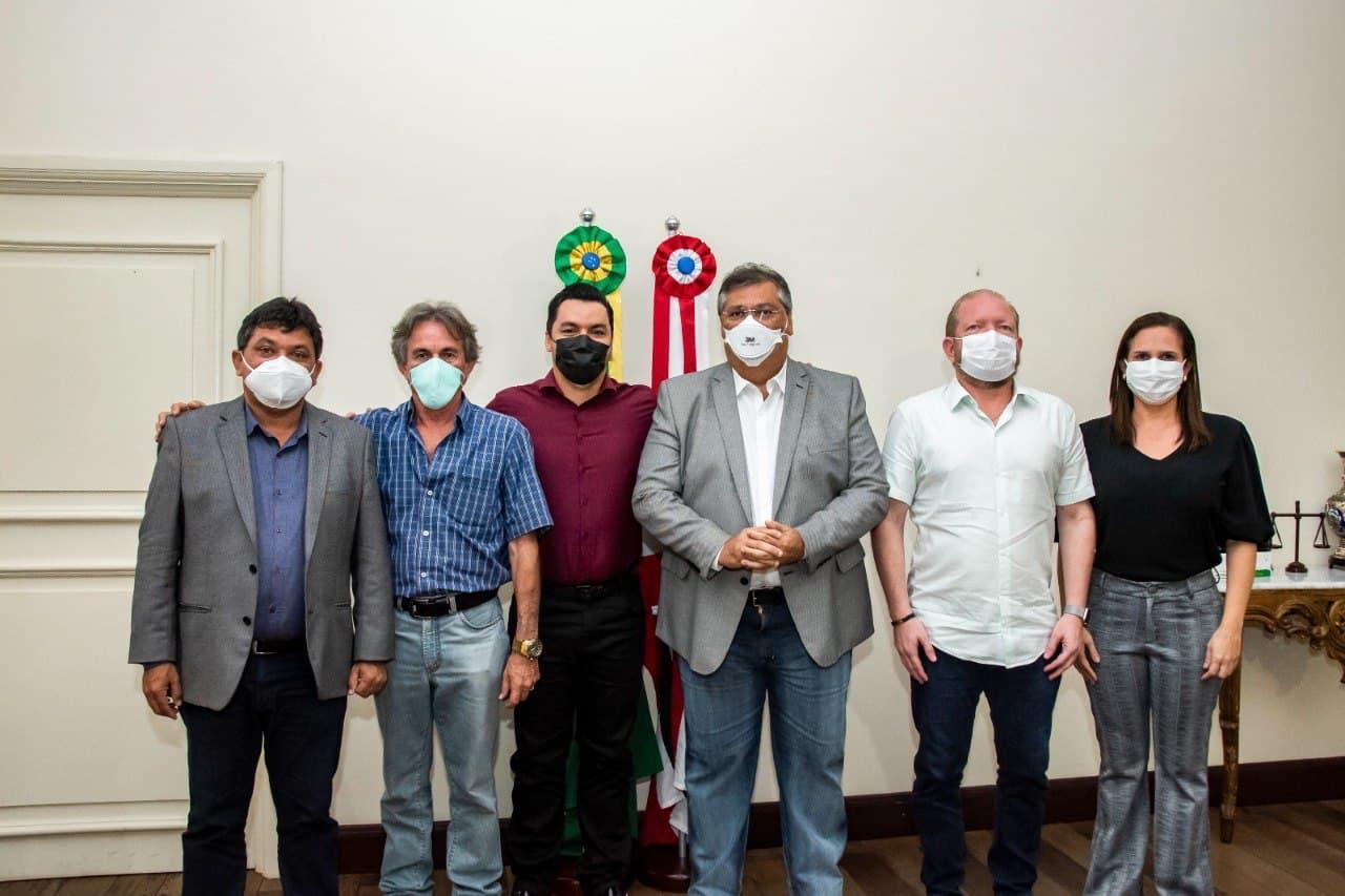 Othelino Neto, Flávio Dino, Márcio Jerry e o prefeito de Benedito Leite, Ramon Barros, após reunião no Palácio dos Leões