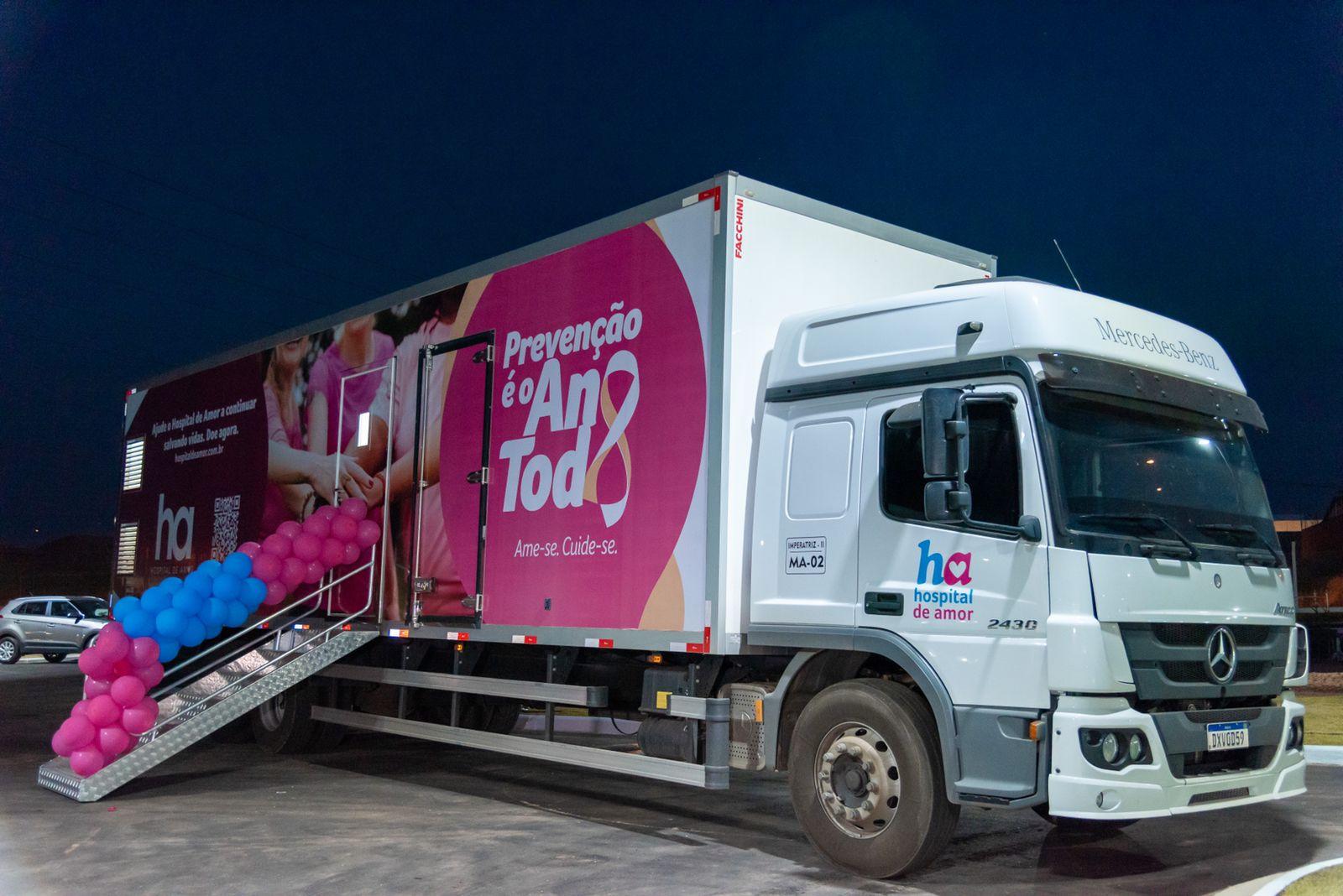Uma das carretas que fará a cobertura móvel em mais de 40 municípios