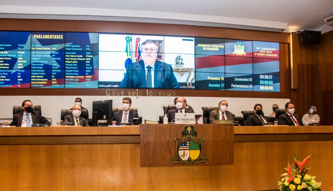 O governador Flávio Dino participou da solenidade de forma remota e desejou êxito aos parlamentares nessa nova etapa