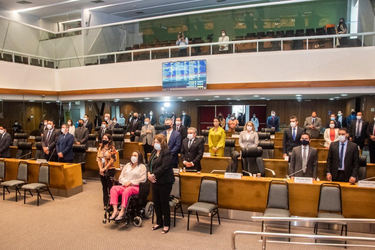 Deputados durante a sessão solene no Plenário