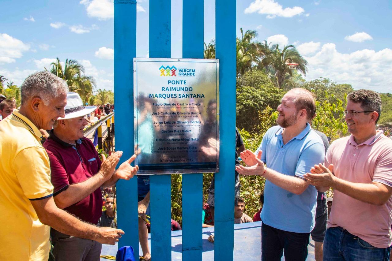 Em Vargem Grande, Othelino participa de inauguração de ponte e anuncia emendas para o município